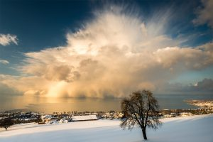 Snow-Cloud directly over Lake Constance