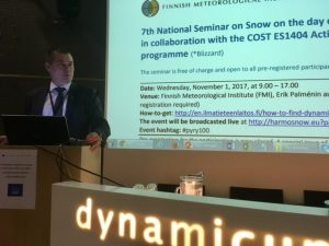 Director General of FMI, Dr. Juhani Damski opening the Snow Seminar at FMI, Helsinki in November 2017 (Photo: Outi Meinander).