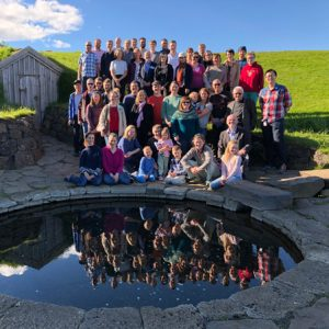 Group photo of NMM31 participants taken by the Snorri Sturluson bath in Reykholt. Photo: Hallvard Mørk Tvete