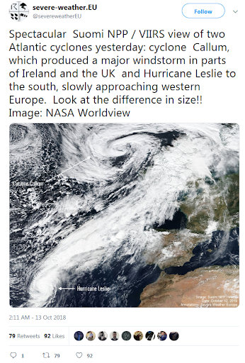 Image: NASA Worldview; tweet posted by severe-weather.EU