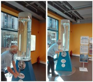 László Egyed (founder and former director of the Centre of Scientific Wonders) shows the whirl experiment (photo credit: Andrea Király)