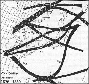 "Figure 4: van Bebber's famous cyclone track charts showing a typical track for late summer from Central Europe into the Baltic Sea region. Of the different notations only the ""Vb"" has survived. Source: https://upload.wikimedia.org"