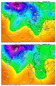 Figure 6: The 4 and 5 January MSLP and 500 hPa flow patterns at 06 UTC as depicted by the ECMWF reanalysis. Source: Wetterzentrale Archive http://www.wetterzentrale.de/de/reanalysis.php.