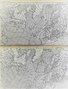 "Figure 3: Typical ""Hoffmeyer maps"" from midnight 4 and 5 January 1907. It was from these maps that the Norwegian meteorologist Halvor Solberg discovered the concept of ""cyclone family"". Source: DMI."