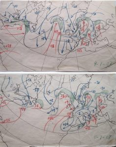 Figure 5: Two of Solberg's drawings of the (circum) polar front, 4 and 5 January 1907, based on Hoffmeyer maps from those dates. (Bergen City Archive, courtesy Jim Fleming, see also Jewell, 1981 a and b and Fleming, 2016 for black and white versions). Source: Bergen City Archive, courtesy Jim Fleming.