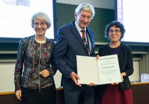 2018 Tromp Award recipient F. Aquaotta (right), receiving the award from W. Rietveld (middle) and T. Cegnar.