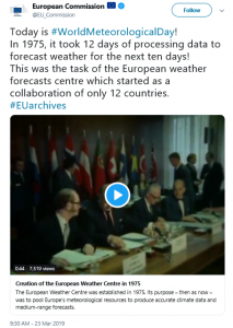 Tweet of the EC on World Meteorological Day 2019 highlighting the Creation of ECMWF in 1975