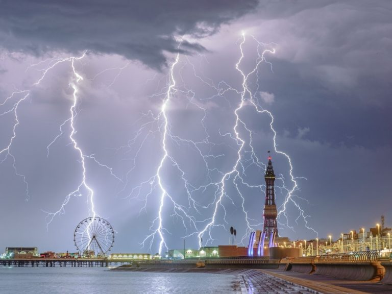 RMetS Weather Photographer of the Year 2018 Stephen Cheatley with his entry 'Electric Blackpool'