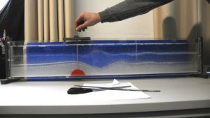 Hands-on experiment demonstrating the formation of leewaves behind mountains (© D. Etling).