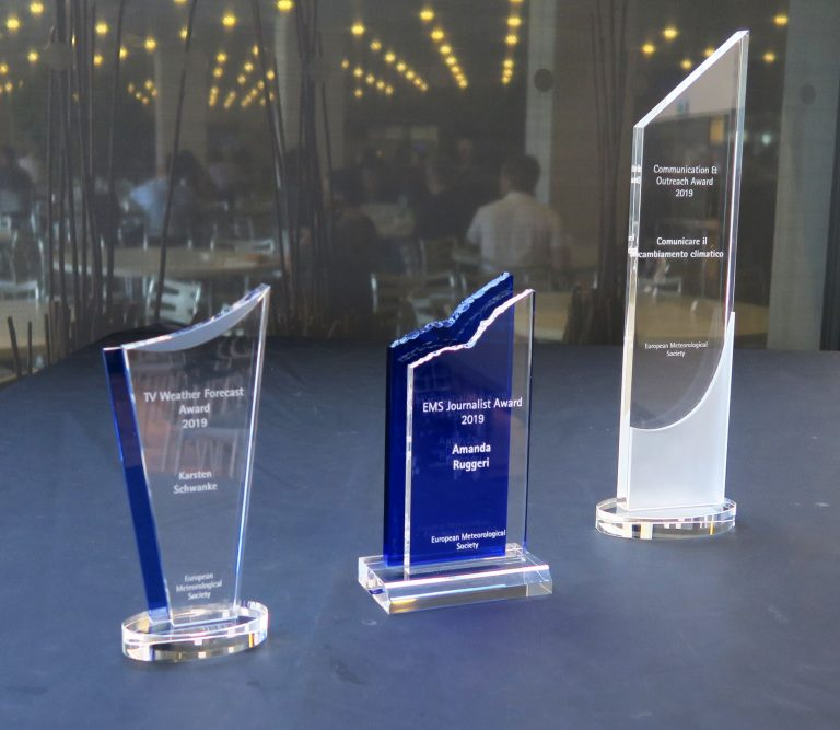 EMS Media Awards tropies of the awardees 2019, presented in Copenhagen (credit: EMS)