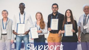2019 YSTA recipients at the awards ceremony together with EMS Treasurer H. Schlünzen (left) and EMS President B. Riddaway (right)