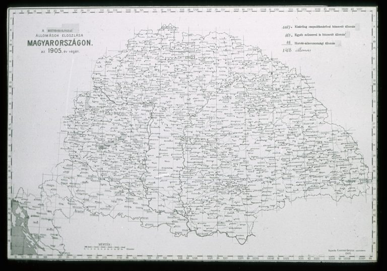 Network of meteorological station in Hungary in 1905 (Annals of the Royal Hungarian Central Institute of Meteorology and Earth Magnetism, 1905 - Library of OMSZ)