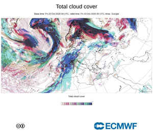 © European Centre for Medium-Range Weather Forecasts: Total cloud cover High resolution forecast